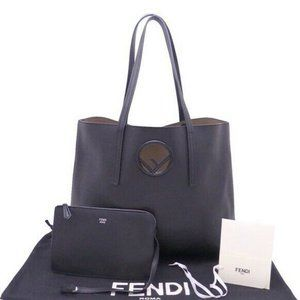 FENDI F Is Tote Shoulder Bag Black Leather - e4574